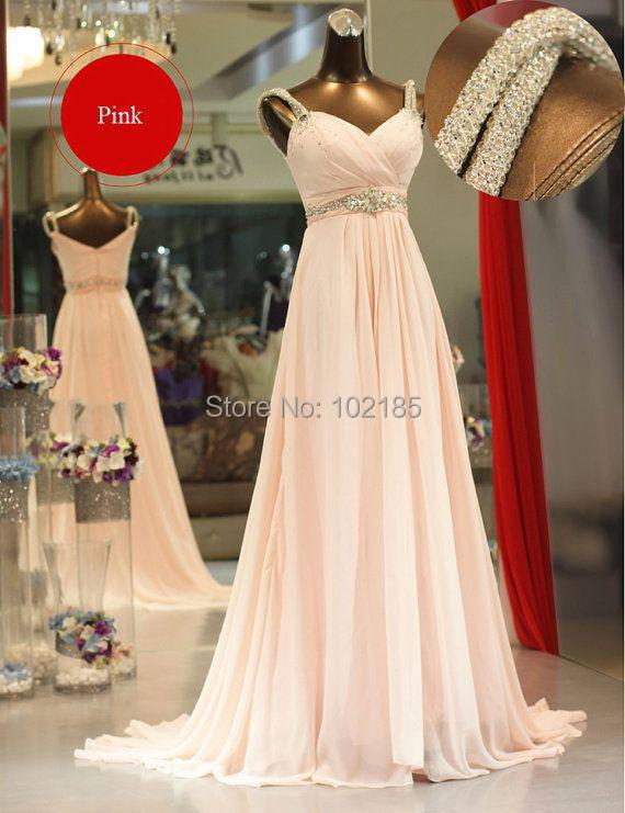 Pink Evening Dress Real Sample Picture A Line Beaded Formal Long Women Event Dress Evening Gown Free Shipping(China (Mainland))