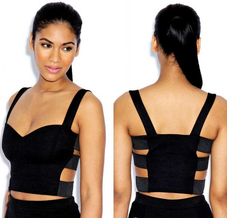Fashion Women Bandage Sexy Tropical Strap Bodycon Crop Top Camis Cut Out Bra Bralette Eve Clubwear Party Bustier Blouse(China (Mainland))