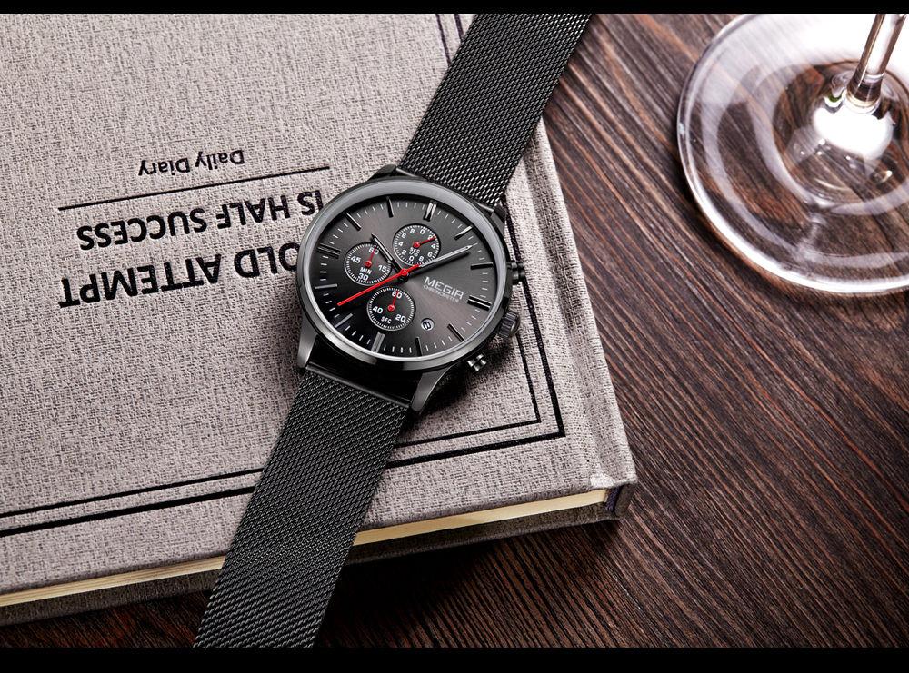 MEGIR Часы Мужчины Из Нержавеющей Стали Сетка Ремешок Ремешок Кварцевые Часы Сплошной Цвет Мода Простой Стильный Топ Люксовый Бренд Наручные Часы