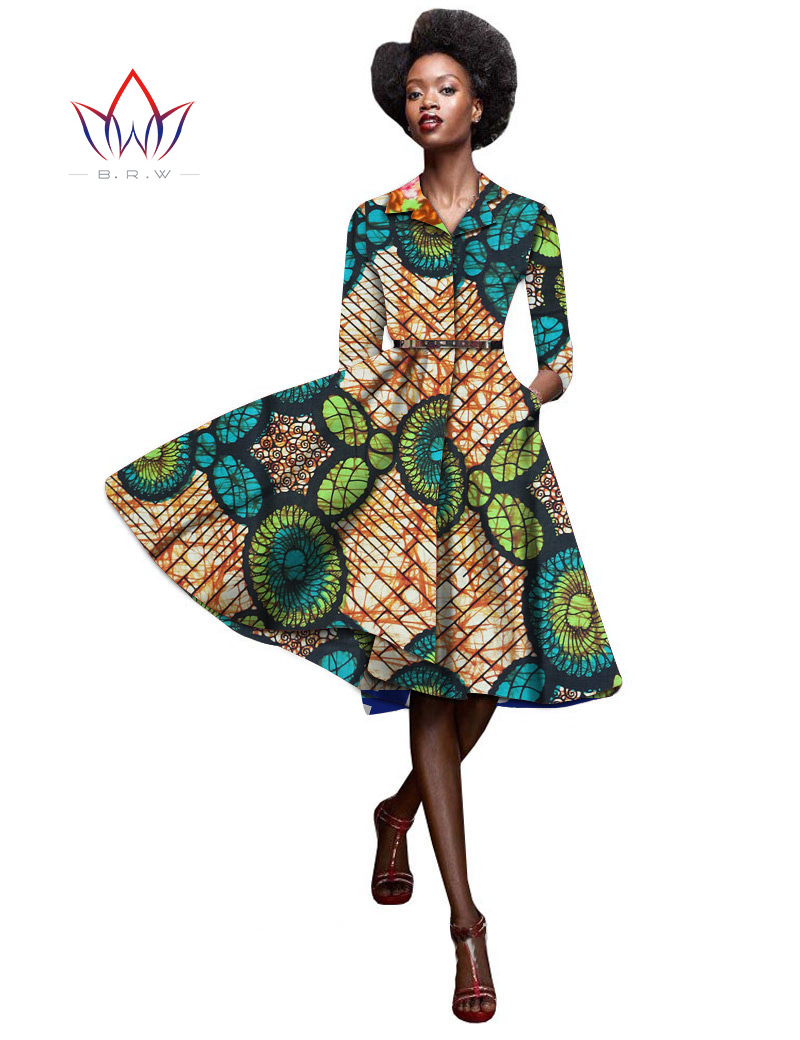 Autumn Women Long Sleeve A-line Dress Bazin Riche Customized Plus Size African Print Dashiki Batik Clothing Party Vestidos WY080(China (Mainland))