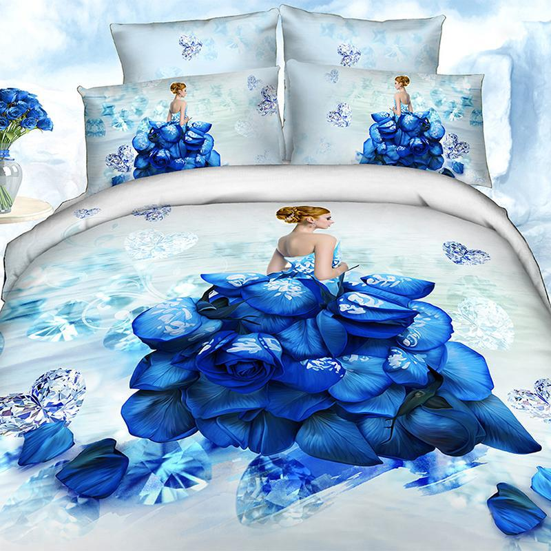 4 Pieces Per Set Blue Diamond Petal Girl Bedding Set and Quilt Cover 3d bedding sets(China (Mainland))