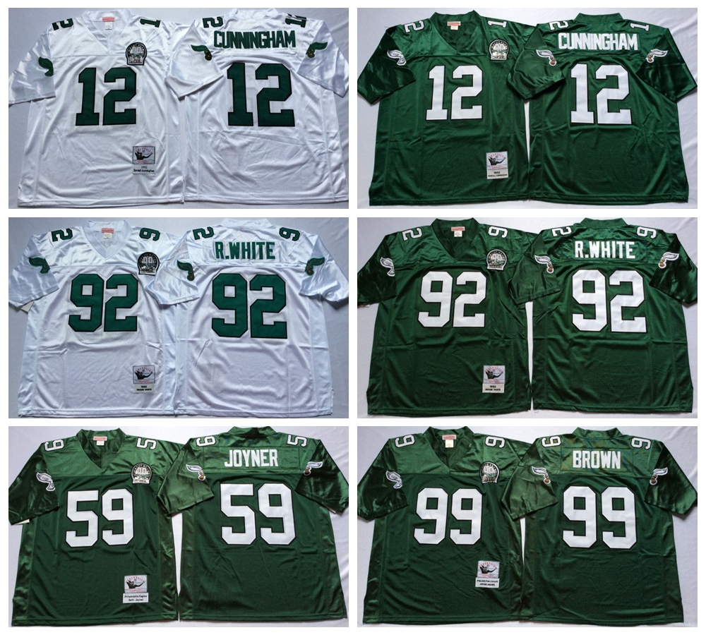 100% Stitiched,Philadelphia Eagles,Reggie White,Randall Cunningham,Jerome Brown,Joyner Green,Throwback for men,real photo(China (Mainland))