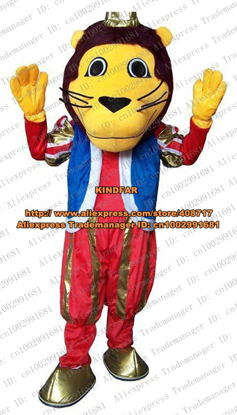 Happy Yellow Simbalion Lion Lioness Leone Simba Mascot Costume Adult Size With Small Yellow Ears Brown Short Hairs No.5542 FS(China (Mainland))