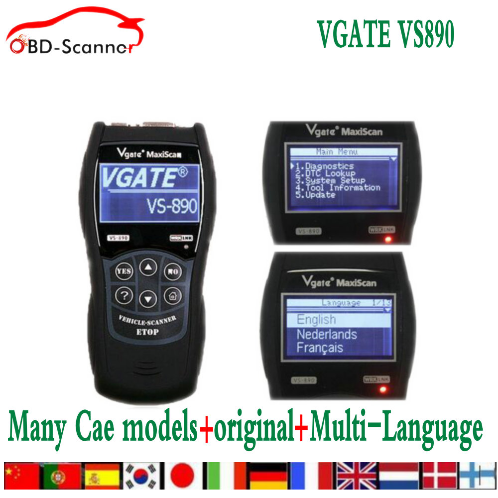 VGATE VS890 OBD2 Scanner Code Reader Universal Multi language and Car Diagnostic Tool Scan Vgate MaxiScan