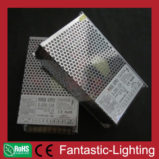 DHL free shipping 5pcs/lot 250W power supply/transformer/driver/adapter for LED lighting products 12VDC Output(China (Mainland))