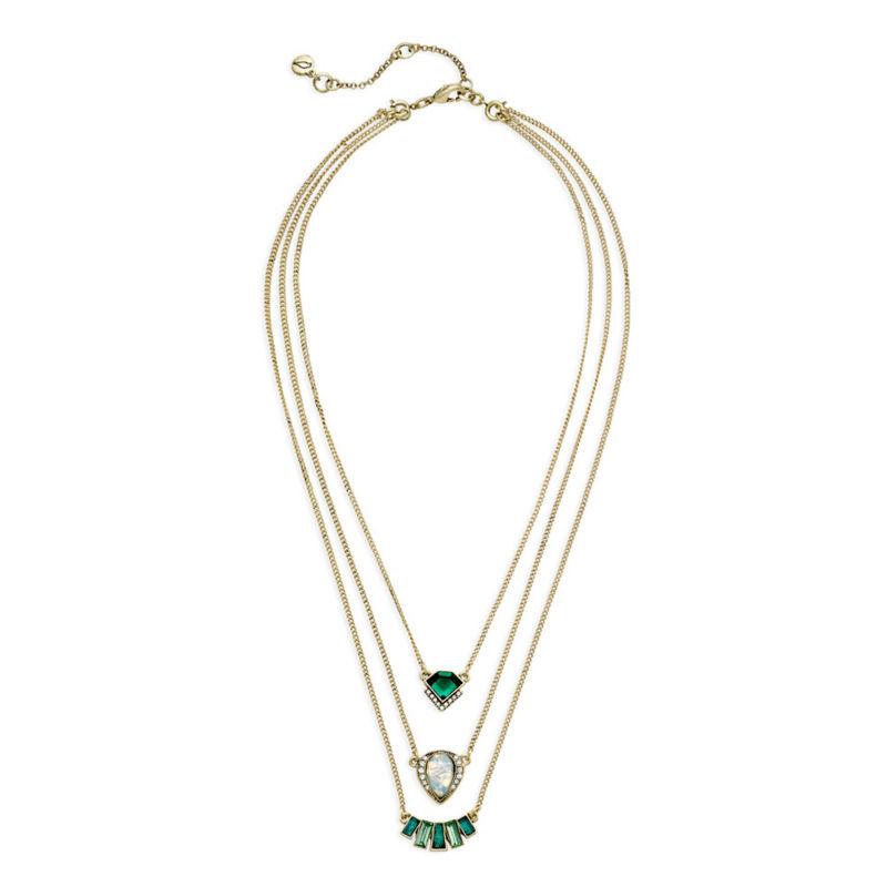 Moda personalidade geométrica pingente de esmeralda três camadas de marca por atacado(China (Mainland))