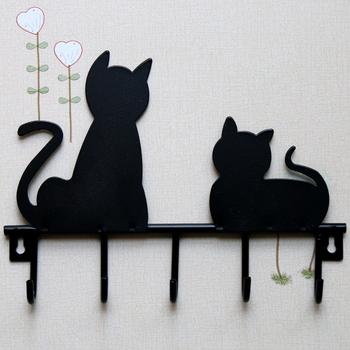Мода черный кот дизайн металл железо стена дверь конной деревенский одежда пальто hat ключ висит декоративные настенные крючки халат вешалка