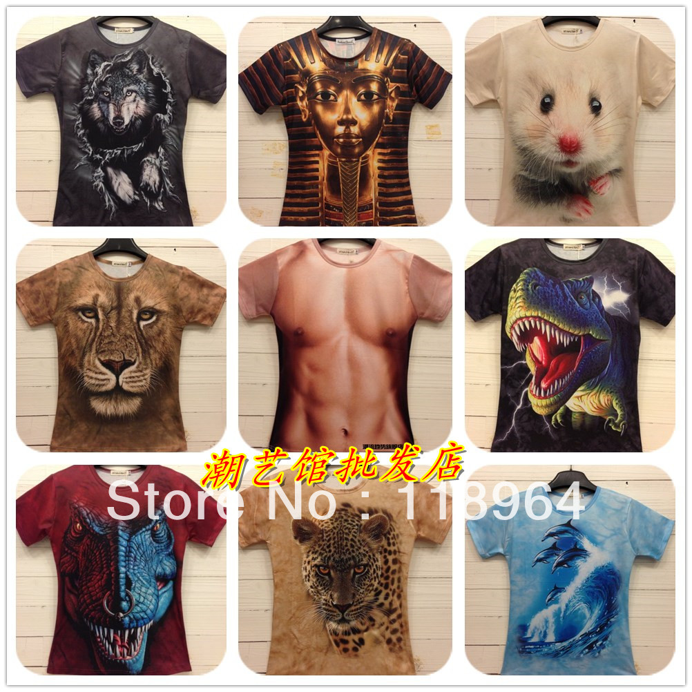 sale wome men eopard lion skull animal funny 3d t shirt tee tiger cat dog wolf 3d top tee free. Black Bedroom Furniture Sets. Home Design Ideas