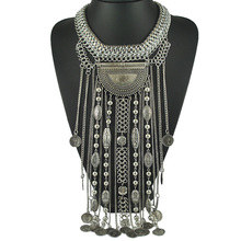 N1828 New freepeopl Ethnic jewelry Long Tassel Caving Beads coin statement necklace antique silver and gold