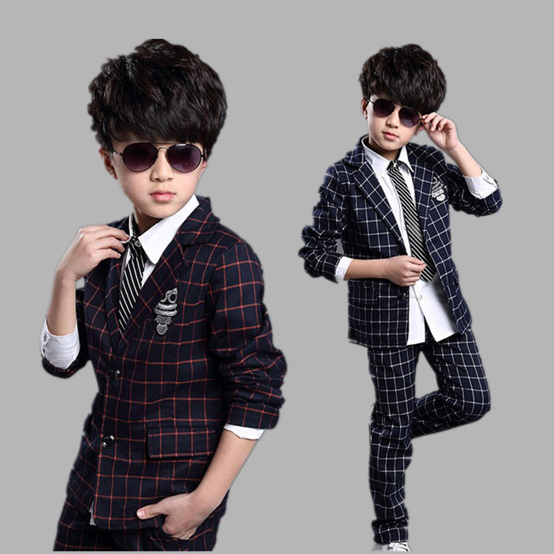 Kids Baby Boy Clothes Formal Wedding Suit Plaid Jackets Pants Set ...