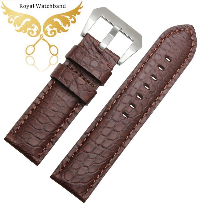 Бесплатная доставка 22 мм 24 мм 26 мм новых людей браун натуральной кожи аллигатора ремешок группы для бренда часы