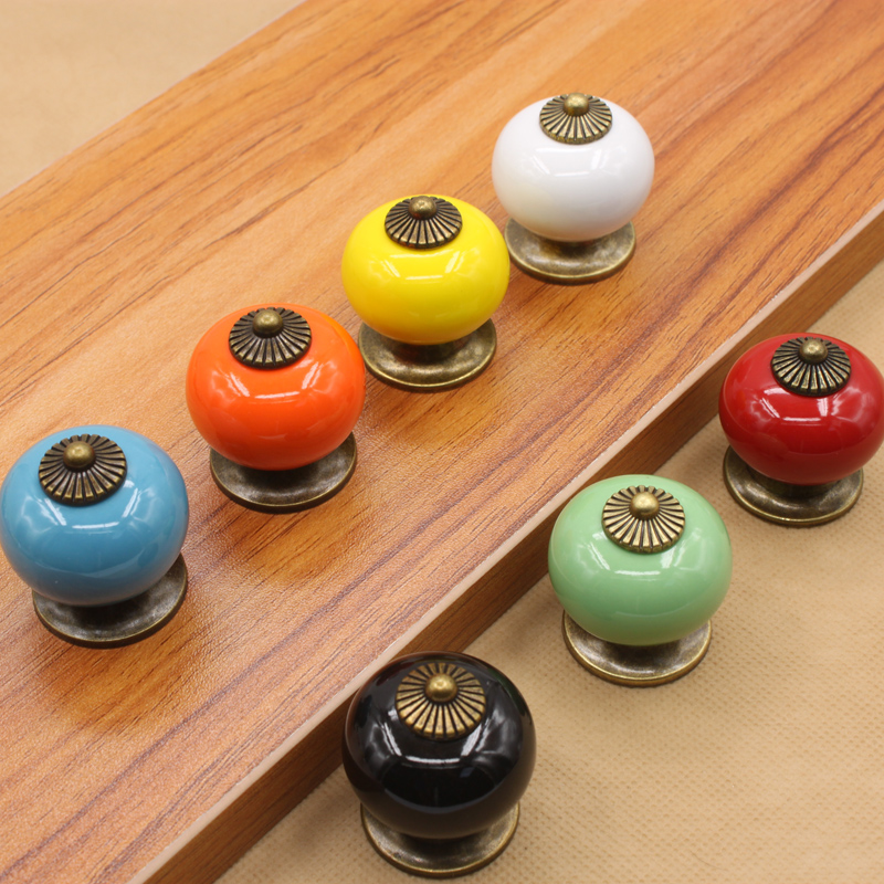 1P Rustic Vintage Retro Ceramic Kitchen Cabinet Drawer Chest Pull Handle Knobs Porcelain Door Hardware Handle Furniture Fittings(China (Mainland))