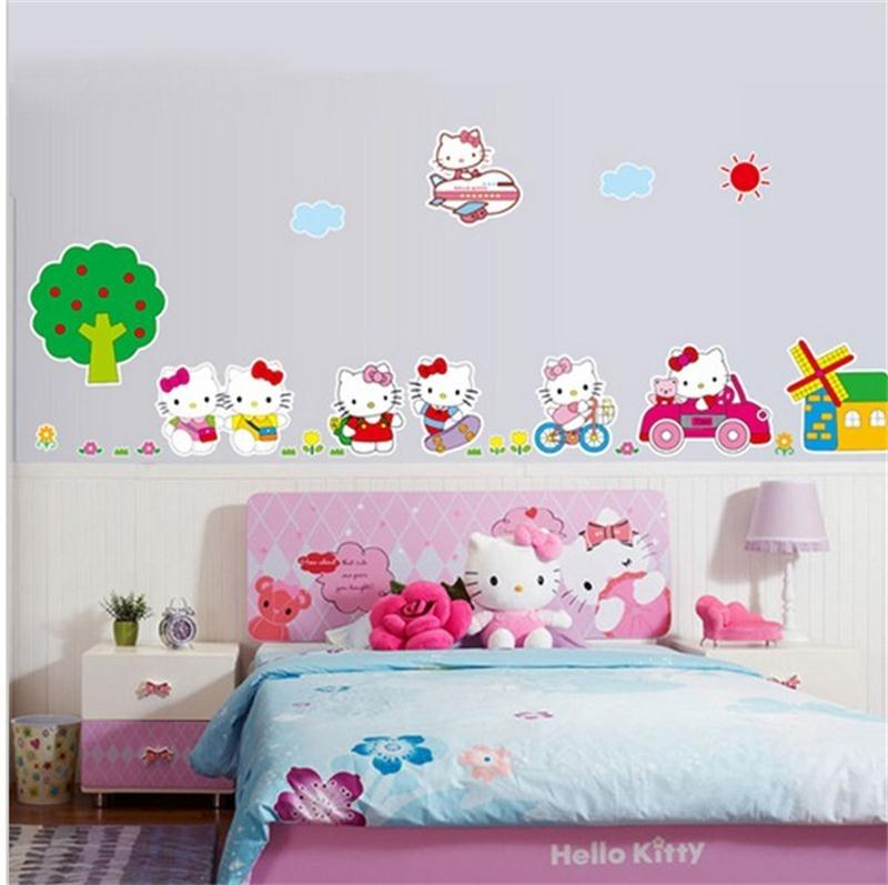 Cute Hello Kitty Diy Home Decor Baby Love Kids Girls Room Decoration Wall Stickers Child Nursery