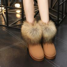 Zapatos de las mujeres Botas de Nieve de Moda de Piel Gruesa 2016 Nuevo Invierno Cálido Algodón Zapatos Para Mujeres Botas de Tobillo(China (Mainland))