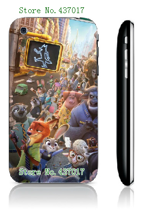2016 New cute Zootopia Phone Cover white hard cases for IPHONE 3 3GS free shipping(China (Mainland))