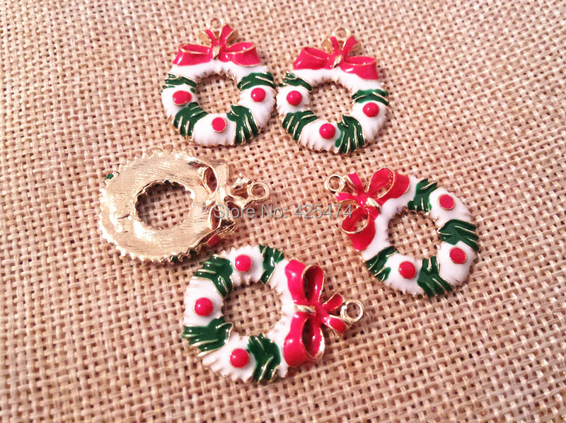 50pcs Christmas decoration flowergarland shape alloy jewelry necklace&bracelet charms Oil drop gold tone phone chain charm(China (Mainland))
