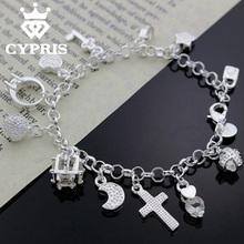 2016 H144 most popular on aliexpress Hot Charm Bracelet silver Bracelet Big Austrian Crystals 13 Charms Factory 925 jewelry(China (Mainland))