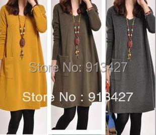 Factory price 2015 women's plus size casual dress pregnant women solid color V-neck loose maternity dresses - Online Store pioussunny store