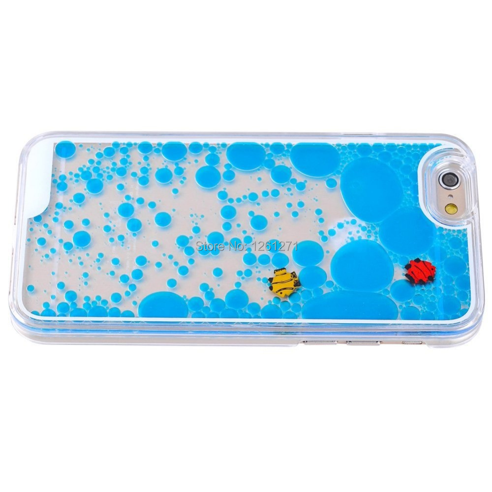 ... Transparent Floating Fish Hard Liquid Case For iPhone 5 5s 6 6 plus