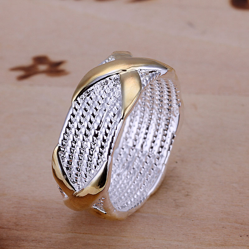 Free Shipping 925 Sterling Silver Ring Fine Fashion Color Separation X Silver Jewelry Ring Women&Men Gift Finger Rings SMTR013(China (Mainland))