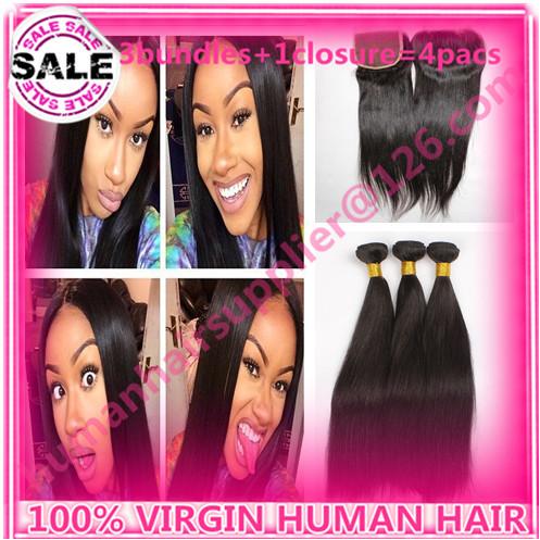 straight kbl hair peruvian hair with closure kbl hair weave with closure unprocessed virgin peruvian hair bundle with closure(China (Mainland))