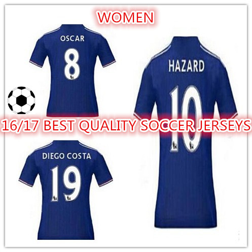 New Top Quality 2016 2017 WOMEN OF Chelseaes 16 17 home blue HAZARD DIEGO COSTA CUSTOM shirt free shipping SS()