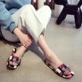 100 Silk Colorful Comfort Summer Slippers Flat Shoes Luxury Designer Cristal Sandals Bling Slippers Sandals Diamond