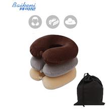 U Shape Neck Pillow Travel Slow Rebound Memory Foam Support Cervical Velvet pillow Cushion For Office Airplane Flight(China (Mainland))