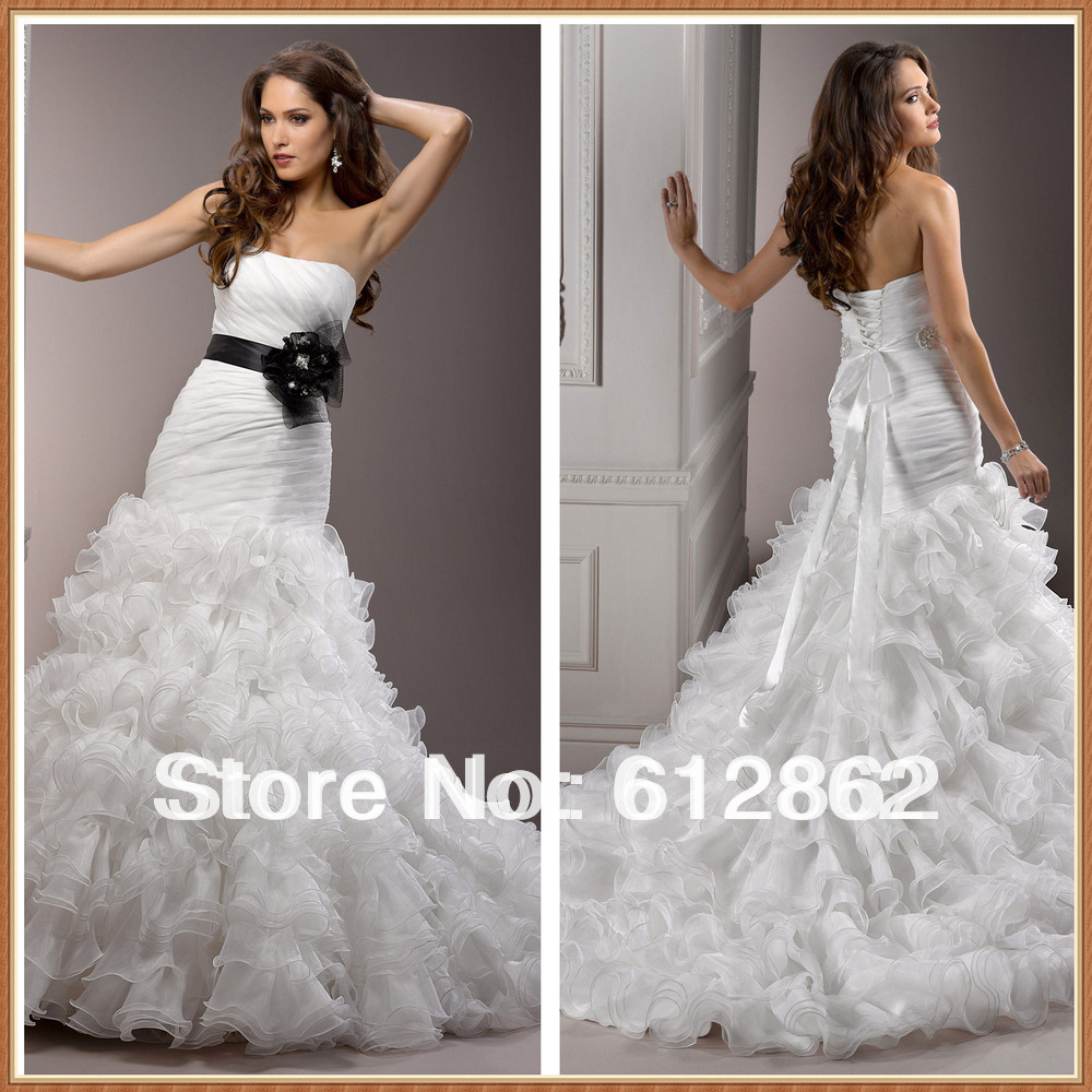 Strapless low back ruffled organza long tail bridal for Wedding dress with low back