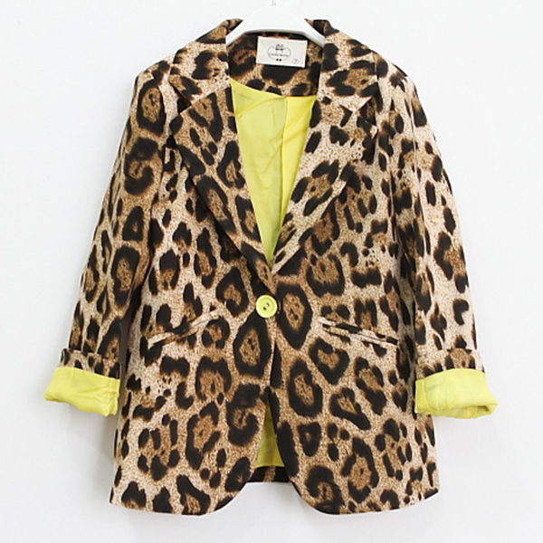 Kids Girls Slim Casual Jackets childrens Coat Suits Blazers Leopard Outwear 1-6Years(China (Mainland))