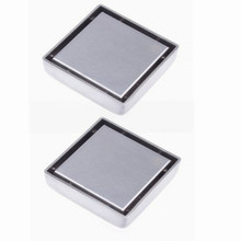 Free shipping 2pcs 304 stainless steel Bathroom Bath 10cm Square Shower Floor Drainer Trap Waste Grate Strainer Cover DR007