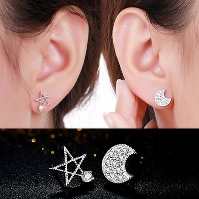 The moon and the stars Delicate and shining zircon crystal Rose,Champagne Gold plated Stud Earrings for women Free shipping 4155(China (Mainland))