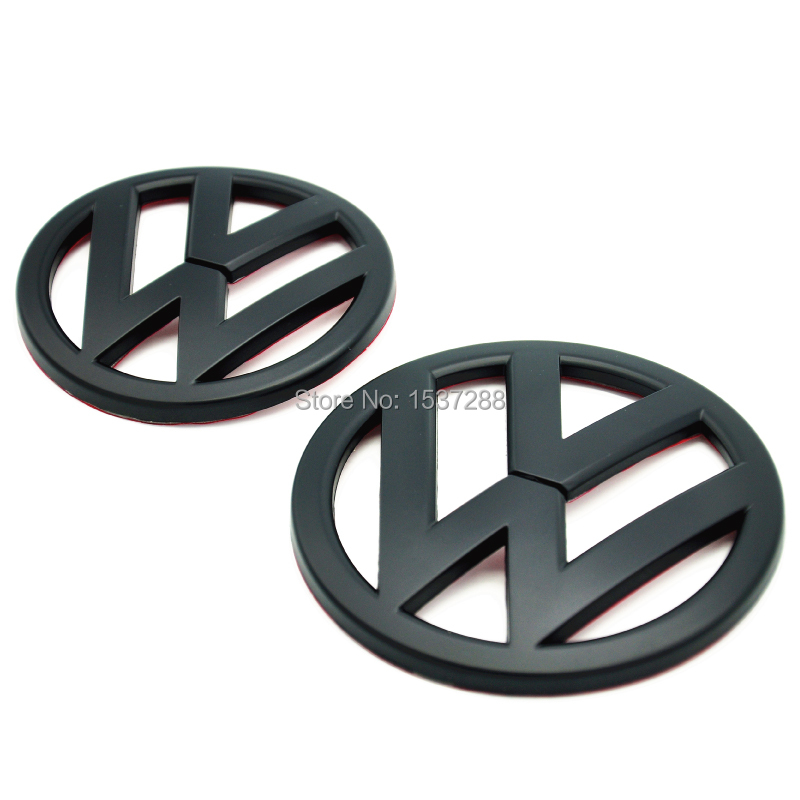 FREE SHIPPING Matte BLACK VW Emblem Badge Logo SET Front Hood & Rear Hatch 08+ For Volkswagen Scirocco MK3 Typ 13 mat black(China (Mainland))
