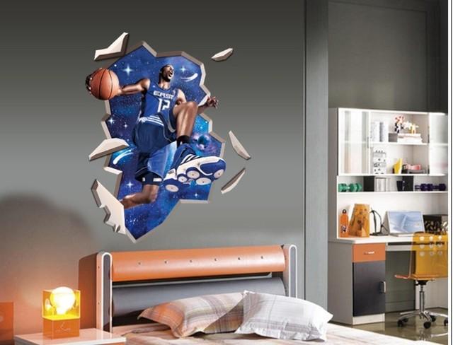 Стикер стены 100 x 90 см баскетбол суперзвезда 3d для детей номеров уолл-этикеты винила стикер мальчики номер искусство декора