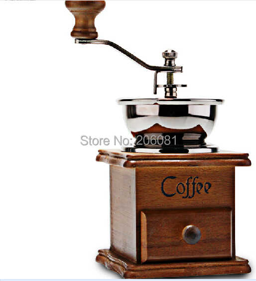 Гаджет  Manual coffee grinder /mancual coffee mill with wooden and metal design and ceramic core None Бытовая техника