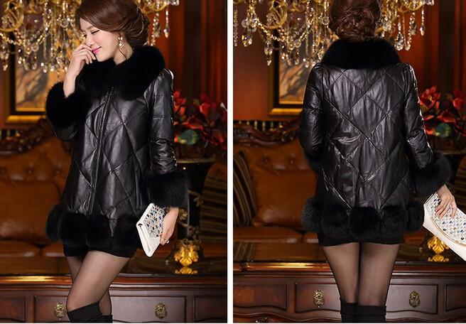 кожа овец кожи новый большой размер женщин овец шубу, лисий мех воротника кожаную куртку / пальто