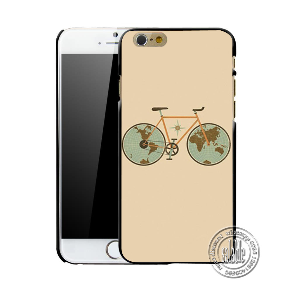 Colorful Bike Retro World Map Design Plastic Cell Phone Case for Apple iPhone 4 4S 5C 5 5S SE 6 6S 7 Plus Mobile Cover