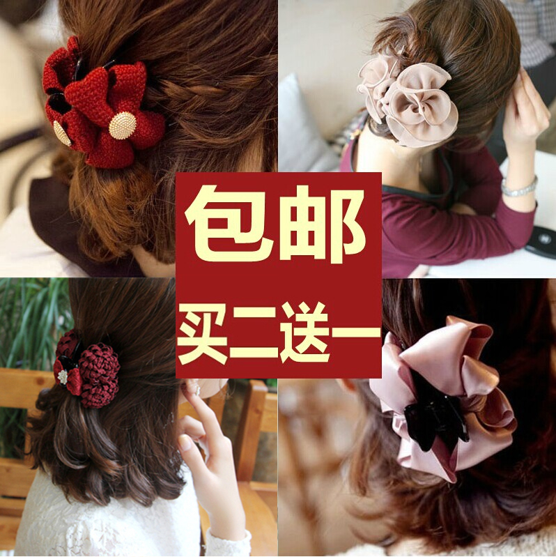 2015 Promotion New Classic Barrettes South Korean Ribbon Bow Wool Grip Hair Caught Large Horsetail Clamping Hairpin Headdress(China (Mainland))