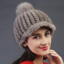 2015 autumn winter Super warm lovely ear women genuine rex mink fur Rex pineapple cap lady dress lovely luxur fur hat hair fur