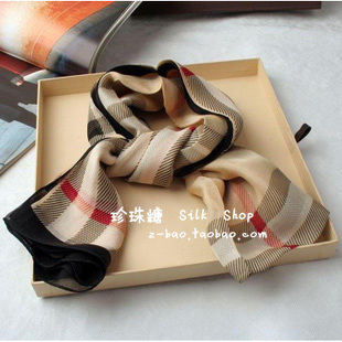 Bur mulberry silk silk scarf plaid long silk scarf autumn scarf female cape