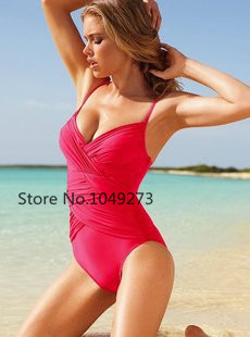 bikinis woman new The new Victoria's swimsuit female Siamese-style halter dress was thin solid color swimsuit 0407(China (Mainland))