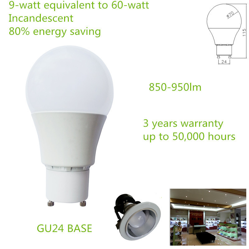 China factory price EPISTAR LED Chips Non Dimmable 90-265V GU24 850-950lm 9W A60 LED BULB(China (Mainland))