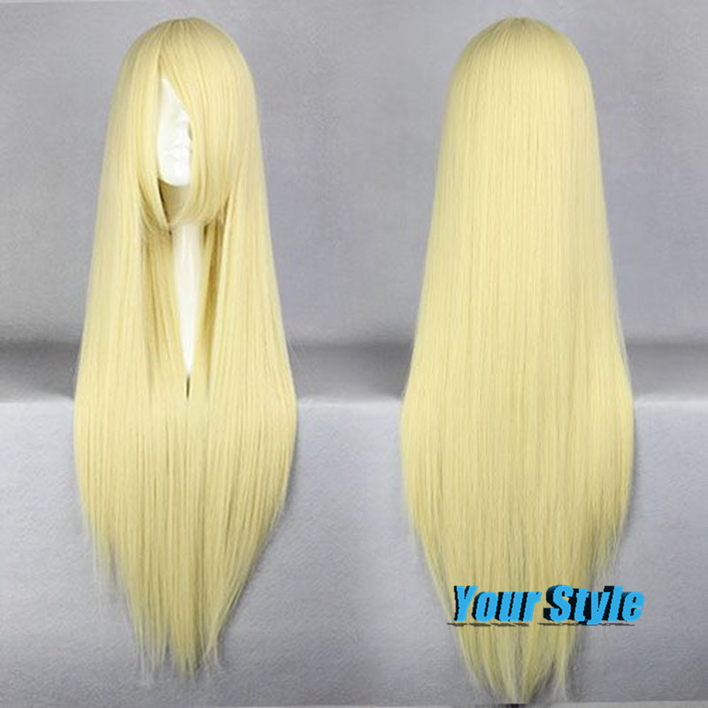 80cm Synthetic Cheap Long Straight Blond Wigs Women Yellow Golden  Hairstyles for Long Hair African American Anime Cosplay Wigs