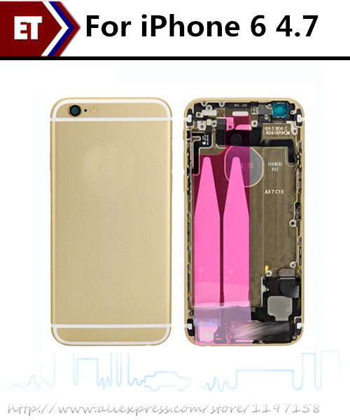 Top Quality For iPhone 6 4.7 Full Housing with small parts Back Battery Door Cover Assembly Replacement parts Free Shipping!!!(China (Mainland))