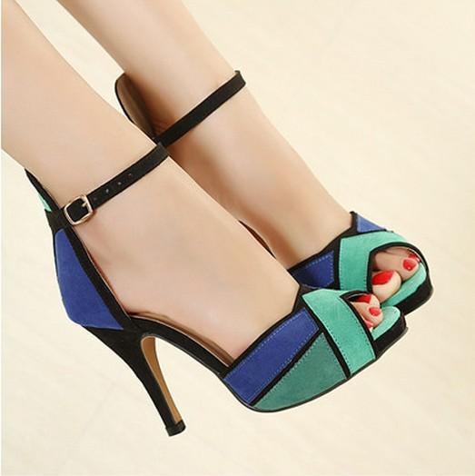 Гаджет  Wholesale Low Price New 2014 Fashion Womens Shoes Peep-toe Pumps Sexy Super High Heels Vogue Ankle Strap Shoes ORANGE BLUE  0 None Обувь