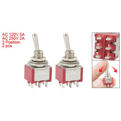 SAF Hot 2 Pcs ON/ON 2 Position Double Pole Double Throw Toggle Switch<br><br>Aliexpress