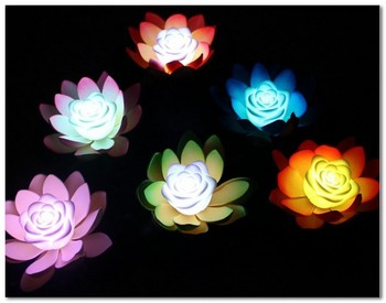 7 Colors Change LED Rose Heart Artificial Flowers Lotus Lamp Water Party Decoration Light  Electronic Wish Lanterns