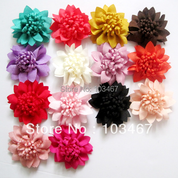 Newest 15 colors- 200pcs/lot  Chiffon Flowers 5.5CM Charlotte Tulle Puff Flower Head hydrangea