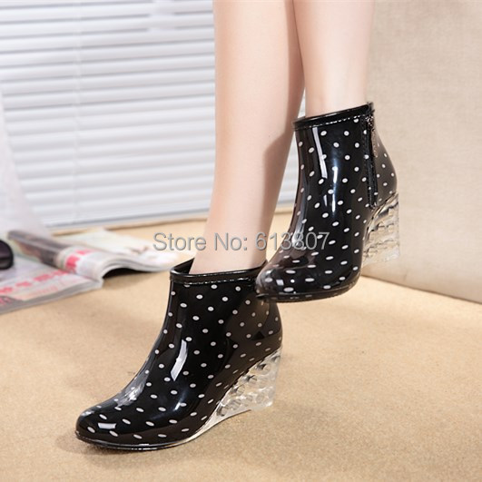 Free shipping Ms. Leisure jelly galoshes Short canister boots high-heeled shoes antiskid shoes water rubber shoes