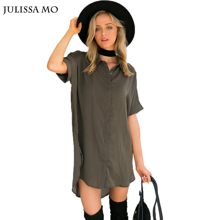Julissa Mo Summer Long Shirts Sexy Deep V Neck Stand Collar Short Sleeve Loose Blouses Blusas Casual Party Wear Cotton Tops(China (Mainland))